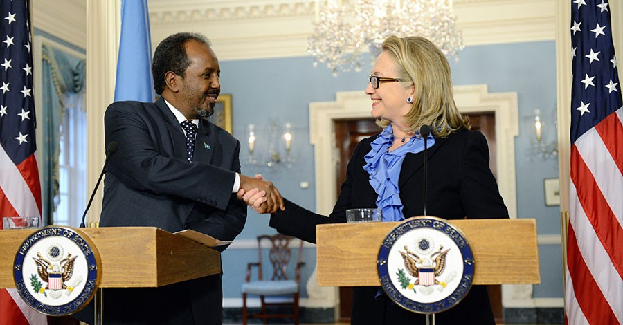 U.S. Secretary of State Hillary Rodham Clinton delivers remarks with Somali President Hassan Sheikh Mohamud at the U.S. Department of State in Washington, D.C. on January 17, 2013. [State Department photo/ Public Domain]