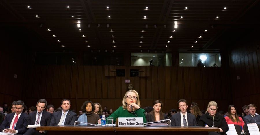 Secretary of State Hillary Rodham Clinton testifies on Capitol Hill in Washington, Jan. 23, 2013, before the Senate Foreign Relations Committee hearing on the deadly September attack on the U.S. diplomatic mission in Benghazi, Libya. [AP Photo]
