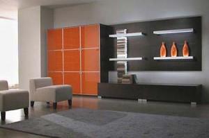 серый цвет в интерьере сочетается с оранжевым фото