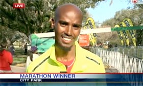 US presenter to Mo Farah: 'Haven't you run before?' - video