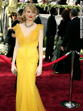 """In 2006, Michelle Williams was nominated for best actress in a supporting role for her performance in """"Brokeback Mountain."""" She walked the red carpet wearing a yellow Vera Wang gown with her then-boyfriend, the late Heath Ledger."""