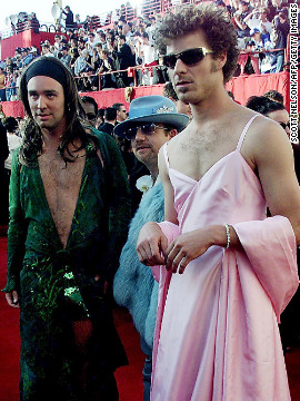 """""""South Park"""" creators Trey Parker, left, and Matt Stone showed up at the 2000 awards show dressed as Jennifer Lopez at the 42nd Grammy Award and Gwyneth Paltrow at the 1999 Oscars. The men eventually told Jimmy Kimmel that they were on acid while walking the red carpet."""