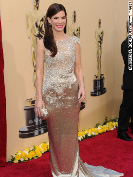 """Sandra Bullock won best actress for her role in """"The Blind Side"""" in 2010, as well as a spot on several best-dressed lists, thanks to her beaded Marchesa gown."""