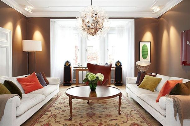 Main room at Warm and Luxury Stockholm Apartment Interior Design