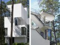 Stairs at Modern U-Shaped Villa Design with White Painted Exterior