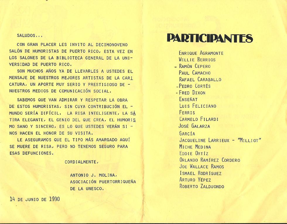 Brochure de 1990 decimonoveno salon de humoristas