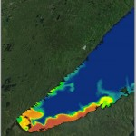 Total suspended sediment (TSS) of western Lake Superior on June 25, 2012, derived from Aqua MODIS surface reflectance data. Image Credit: DEVELOP Great Lakes Team.
