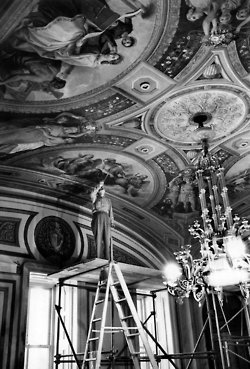 At the end of 1958, the Capitol in Washington got a house-cleaning — everything from dusting signs to refreshing the paint on frescoes, like this one by Constantino Brumidi, in a room that formerly housed the District of Columbia Committee and was being readied as the office for the Senate majority leader, Lyndon B. Johnson. Photo: George Tames/The New York Times