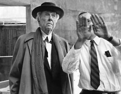 """Sept. 6, 1957: Frank Lloyd Wright with an assistant assesses his latest creation, a museum to house Solomon R. Guggenheim's growing modern art collection.""""Mr. Guggenheim came to me twelve years ago and said he wanted a museum specifically for the advanced type of paintings he collected,"""" Mr. Wright said. He went on, in an absorbing piece for The Times magazine: """" 'This is the only organic building in New York,' says Wright. 'Each part is the consequence of the other, as things are in nature.' """" Photo: Sam Falk/The New York Times"""