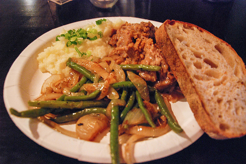 Wild Boar plate with mashed potatoes, green beans and Easy Tiger bread