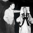 Charles Boyer visits Ginger Rogers on the set of <em>The Story of Vernon and Irene Castle</em>