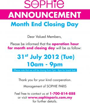 192 announcement month end operation hour - Month End Closing Day