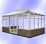 Hipped Edwardian Conservatory with Dwarf Wall