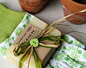 Gardener's Soap Creatively Packaged With Gardening Gloves Gift Idea- Cornmeal, Palmrosa, Sweet Orange & Patchouli Soap - Cold Process Soap