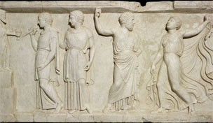 Relief with Bacchus and followers, marble wall panel, © Soprintendenza Speciale per i Beni Archeologici di Napoli e Pompei / Trustees of the British Museum