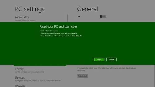 Windows 8 Reset Your PC Screen