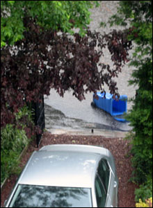 Flooding on a house driveway
