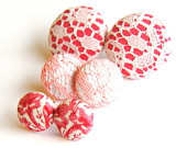 Pretty in Pink Fabric Button Stud Earrings