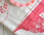 Tea Towel: Vintage Pyrex Pink Gooseberry, Cinderella Bowls-Screen Printed Natural Unbleached Cotton -- Soft, Lint Free, Awesome.