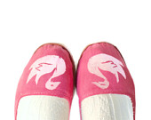 Rose Pink Shoes // Valentine Shoes // White Swan Mary Janes // Cotton Flats, Comfortable Slippers // Ready to Ship