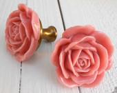 Garden Rose Drawer Knob in Luscious Pink