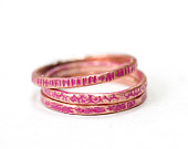 Hot Pink Set of 3 Color Stacking Ring Copper Textured Skinny Teen 1 to 2mm