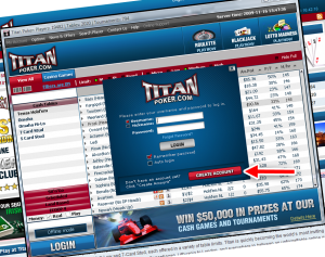 After you installed the titan poker client you need to create an account.
