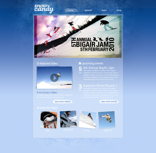 Snowboard themed website design