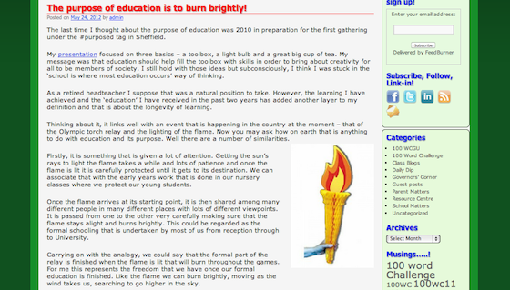 A snapshot of Julia Skinner's blog post about the purpose of education.
