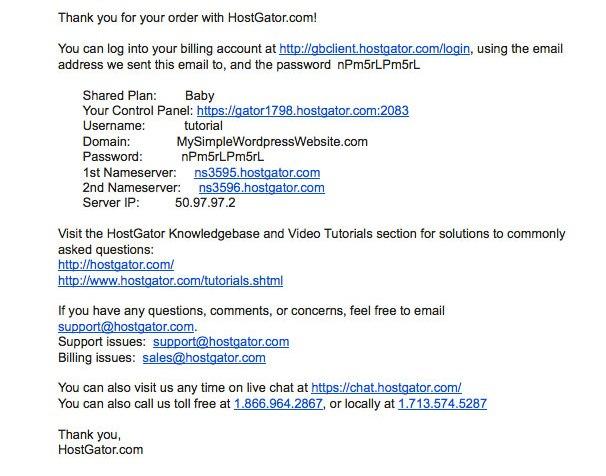 email registration host gator