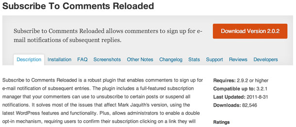 Das Subscribe to Comments Reloaded WordPress Plugin