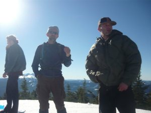 IOP instructors, Hess and Hoffmeister, on Fuji, Snow Trip.