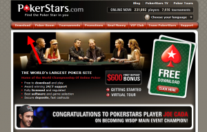 follow the red arrow to find the download button in pokerstars