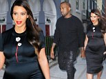 Pregnant Kim Kardashian beams as she steps out in flattering tight oriental-inspired satin dress... but Kanye West still can't raise a smile on their date night