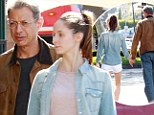 What a gentleman! Jeff Goldblum, 60, carries the groceries as he leaves the market with gymnast girlfriend Emilie Livingston, 29