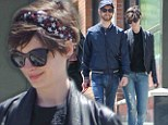 Star-Spangled Anne Hathaway dons a girly head wrap but dresses like husband for an afternoon stroll