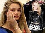 Fresh-faced and flawless! Rosie Huntington-Whiteley arrives at the airport make-up free after a glamorous night out in Hollywood