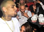 Birthday babes: Chris Brown celebrates his 24th birthday at Emerson Theatre in Los Angeles, California on Friday with a handful of scantily-clad women