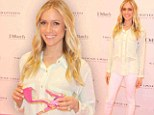A breath of spring air! Kristin Cavallari shines in ivory blouse and skinny white trousers to promote shoe line