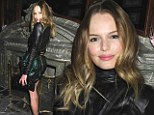 She can do no wrong! Kate Bosworth hits another style high note in leather top and shiny tulip skirt at fashion party