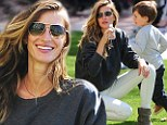 A model mother! Gisele Bundchen shows off her natural beauty on a day at the park with son and newborn daughter