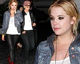 Spring Breakers star Ashley Benson covered up for once in leather leggings as she worked the grunge look on Saturday night.