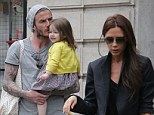 Reunited: David Beckham, who turned 38 on Thursday, was seen out with his daughter Harper and wife Victoria in Paris, France, on Friday