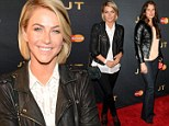 Ladies in leather! Julianne Hough and Brooke Shields both opt for edgy cool in black jackets and trousers for Justin Timberlake gig