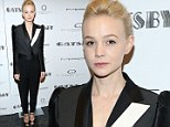 Carey Mulligan is an androgynous beauty in black tuxedo at Great Gatsby screening