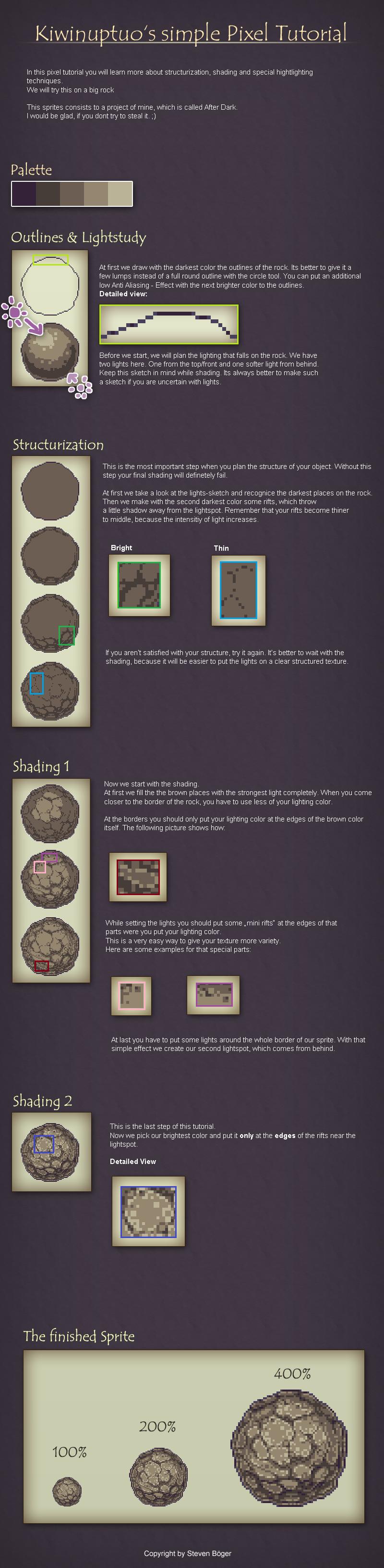 Pixel Art shading a rock