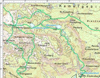 Der Routenverlauf zwischen Gradenbachfall und Grafenbergalm