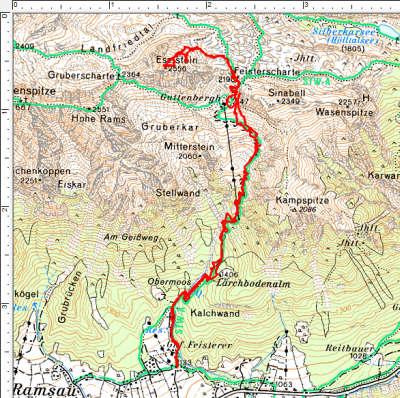 Der Routenverlauf über das Guttenberghaus auf den Eselstein