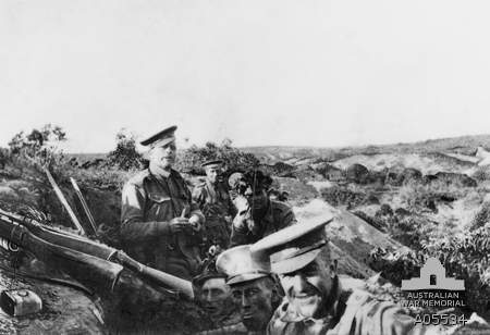 Members of 13th Battalion, AIF, occupying Quinn's Post on the heights above Anzac Cove, 25 April 1915. A05534