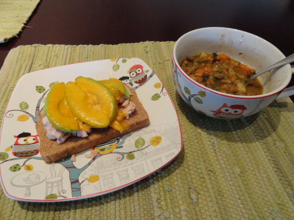 Chicken Avacado Melt with Lentil Soup